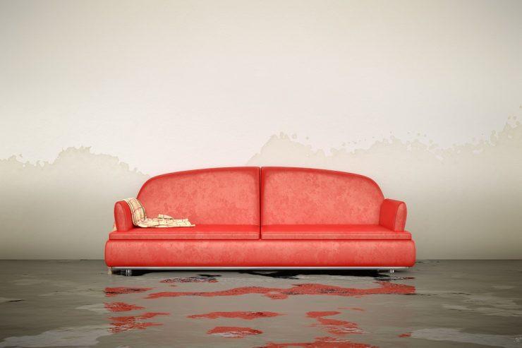 zalana sofa w mieszkaniu